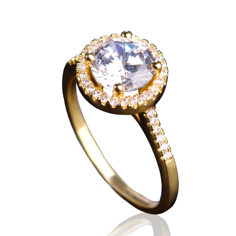 Blucome Imitated Emerald Rhinestone Wedding Bijouterie Zircon Copper Engagement Metal Ring For Women Men