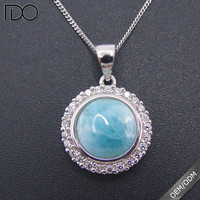 925 Sterling Silver Round Blue Larimar Pendant With AAA White Cz On Sale