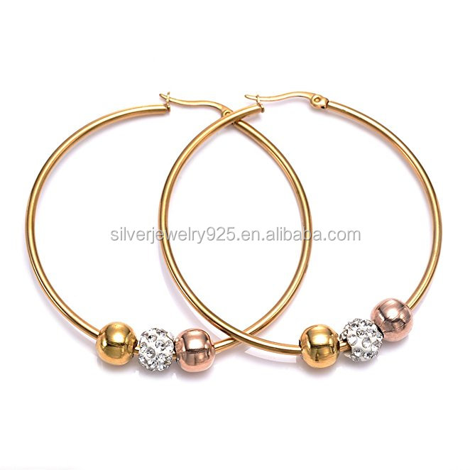 2 Pairs 40MM Gold Stainless Steel Beads Charms Big Hoop Earrings for Women Huggie Earrings