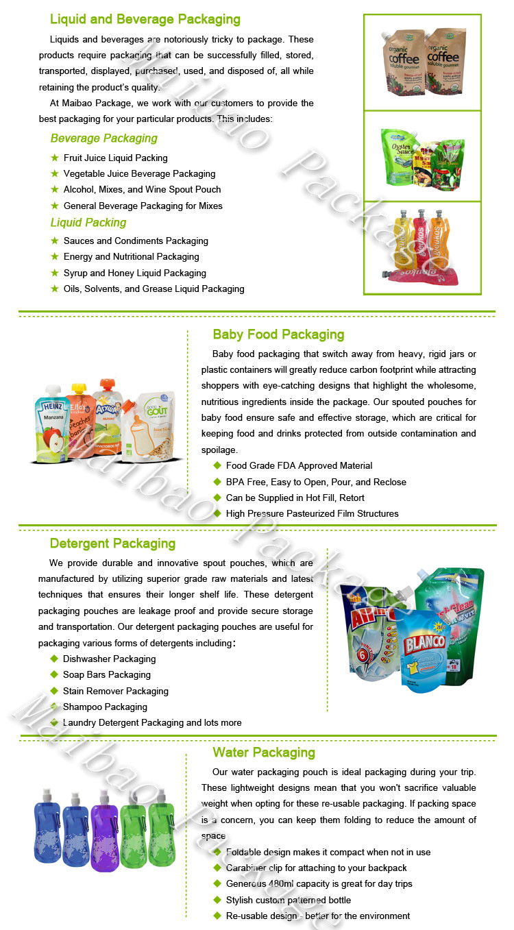 Customized Beverage Juice Liquid Food Packaging Bag with Spout/Drink Stand up Spout Pouch