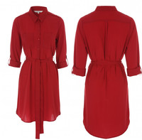 Korea Fashion New Design Young Ladies Long Sleeve Red Lapel Shirt Dress