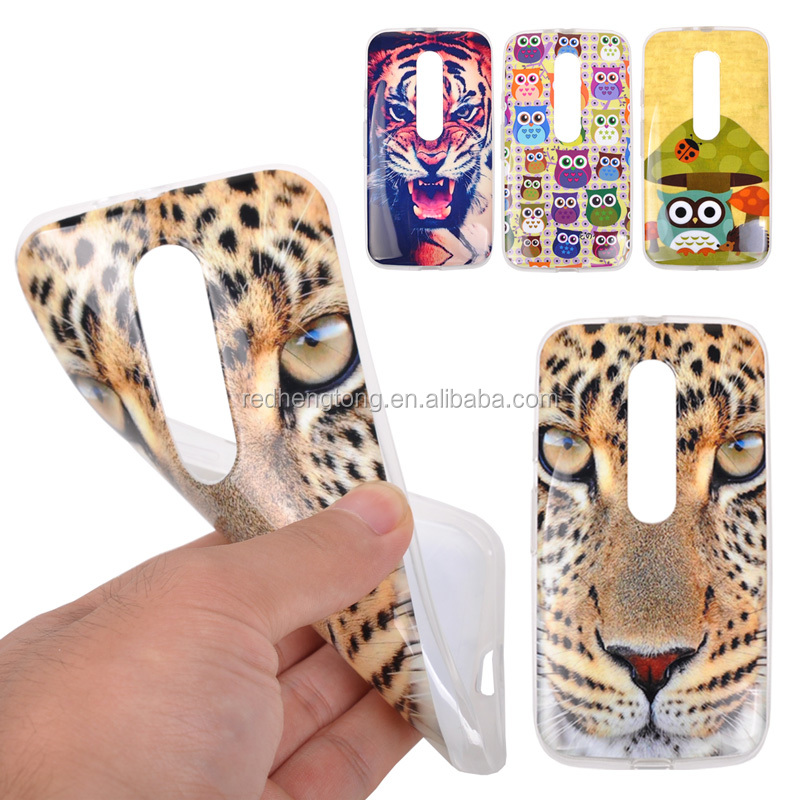 2015 New Animal Cartoon Printing Soft TPU Back Case for Moto G3