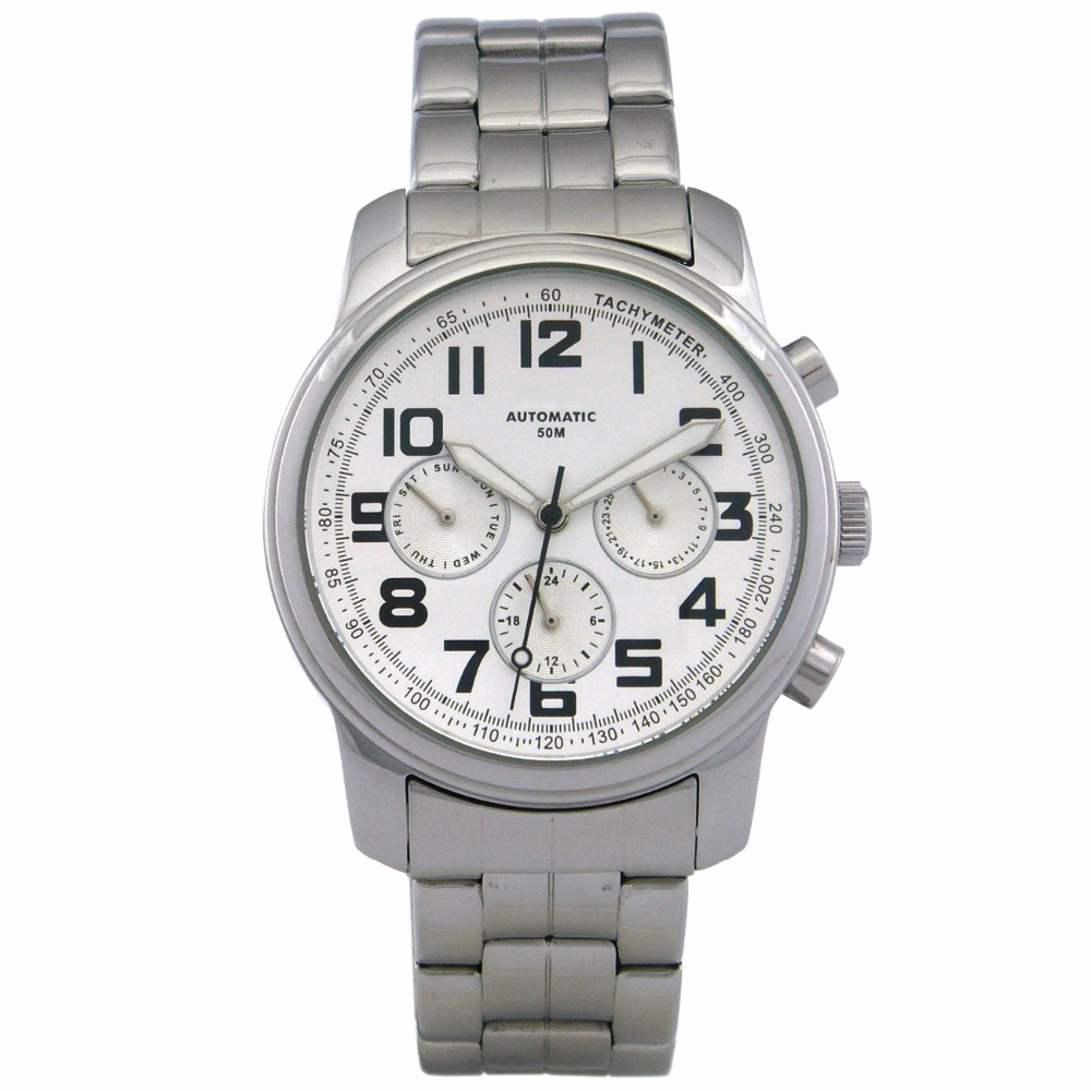 GENT'S 5 ATM Watch AUTOMATIC PILOT MULTI FUNCTION WATCH WITH S/S CASE & PUSHERS AND S/S SCREW BACK. Watches