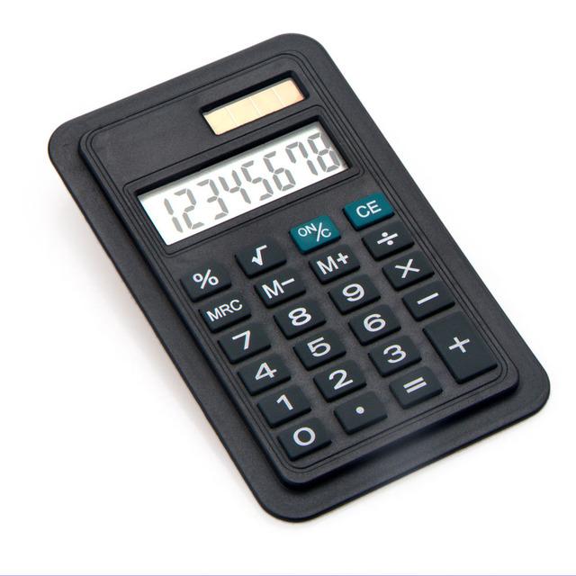 Slim Design Book Clip Calculator, Book Mark Card Business Calculator, Dual Power Big Display Calculator