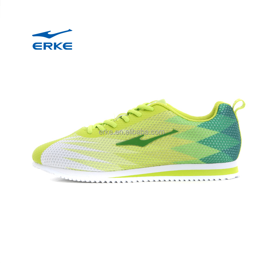 ERKE new fashion gradient color lightweight breatheable mesh top brand mesn cortez running shoes for wholeseale