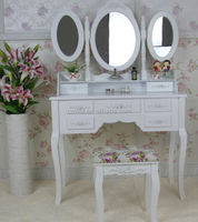 Cheap Pretty Wood Vanity Dressing Table With Bench