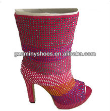 Cystals covered high heel fashion boot