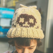 handmade hat winter cap skull heavy wool women 's knit hat