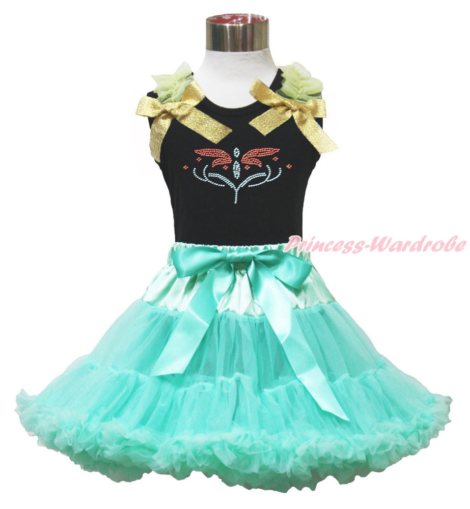 Rhinestone Princess Anna Fever Black Top Aqua Blue Skirt Girls Cloth Outfit 1-8Y