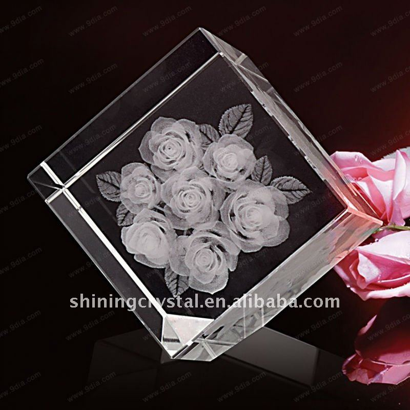 customized shape glass block crystal plaque