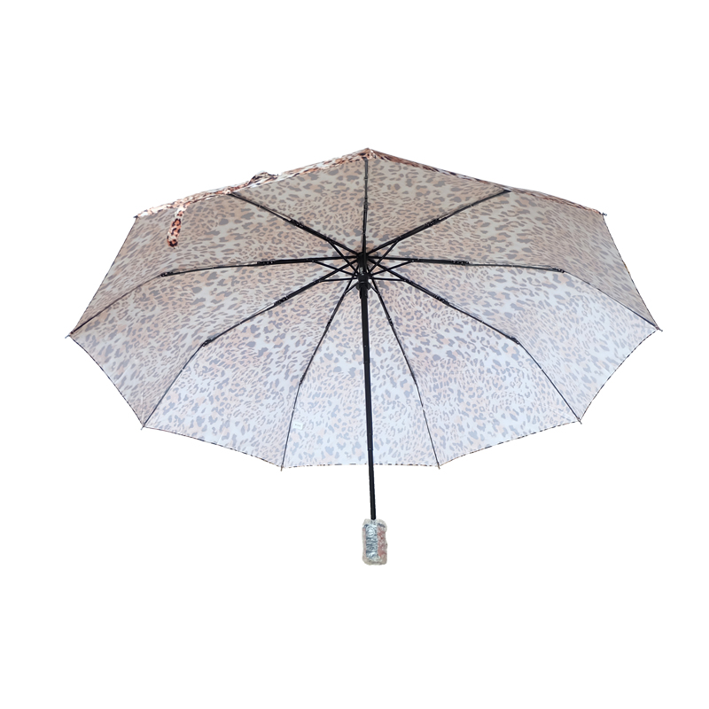 leopard printed customized size three section umbrella