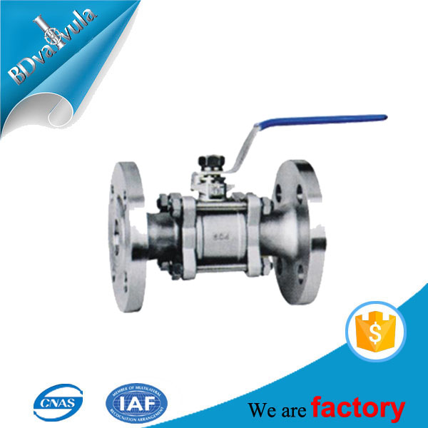 3-PC Stainless steel Nitric Acid DN15 PN16 Manual Ball Valve