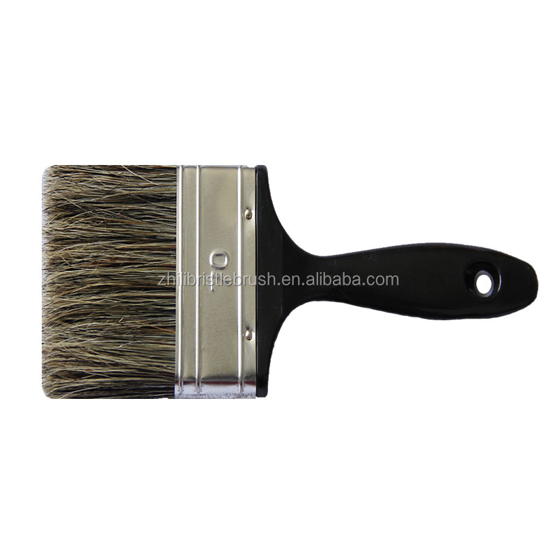 Natural grey pig hair with fresh black plastic handle