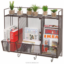 Country Rustic Large Wall Mounted Metal Wire Mesh 3 Compartment / 3 Hook Organizer Storage Rack
