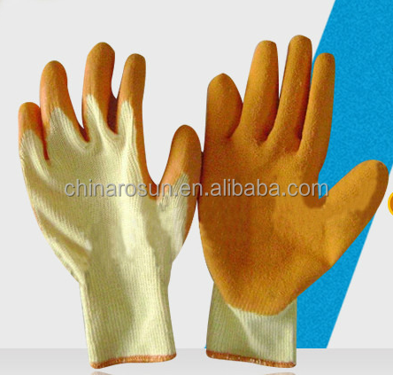 cheap rubber knitted hand gloves dotted safety glove work job EN3884343 kids protective gloves