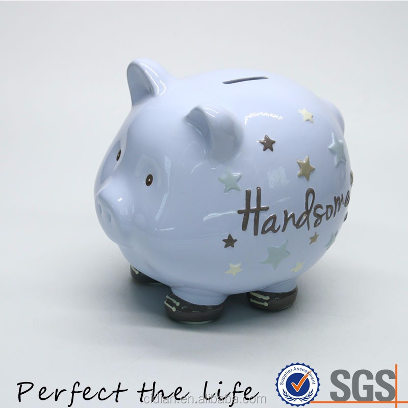 Magic Blue Porcelain Pig Shaped Piggy Bank Money Box for Saving Coins