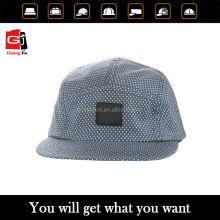 Wholesale Label Patch Logo Flat Brim Leather Strapback Printed Dot Custom 5 Panel Cap And Hat
