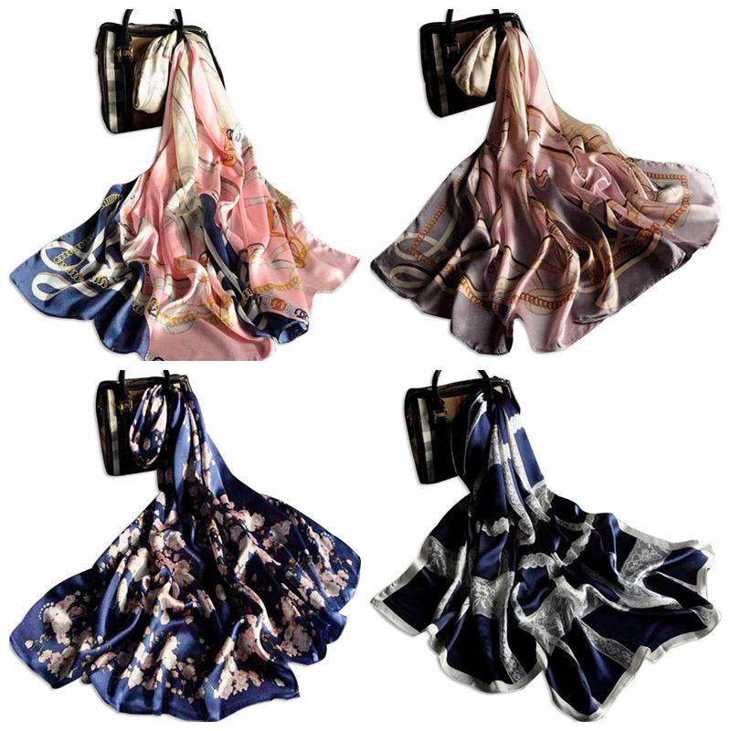 Hangzhou best selling women long digital print shawls 100% silk scarf with lace