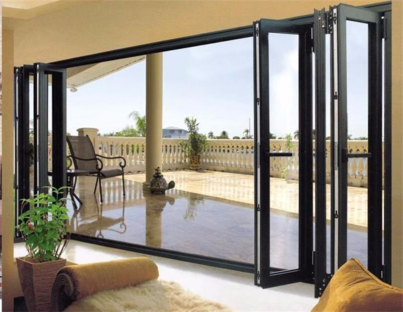 4 panel folding sliding door entry aluminum glass door