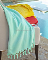 Import from china 100% cotton fabric high quality beach towel with tassels with fouta