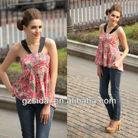 2013 Multi-color halter design peplum ladies tops latest design SSK003