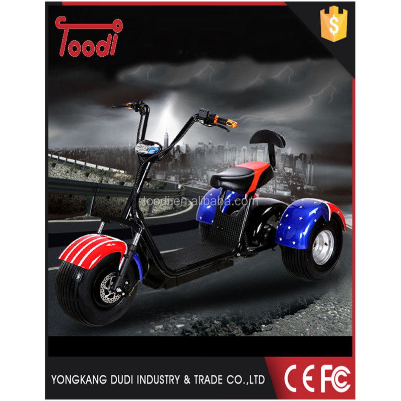 2017 new product 50km range woqu three wheel citi coco big wheel electric scooter for sale
