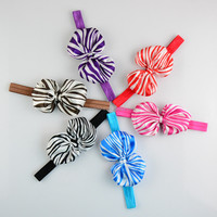 New Product Zebra-Stripe Satin Bow Elastic Headband,Cheap Wholesale Hair Accessories For Toddler