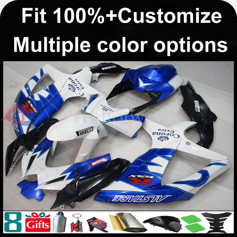 Manufacturer INJECTION MOLDING Fairing motor Fairing for Suzuki GSX-R600 2008 2009 2010 GSX-R750 K8 blue CORONA