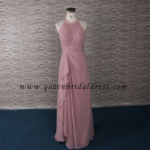 2018 Muslim party gown Pleats peach chiffon bridesmaid dresses