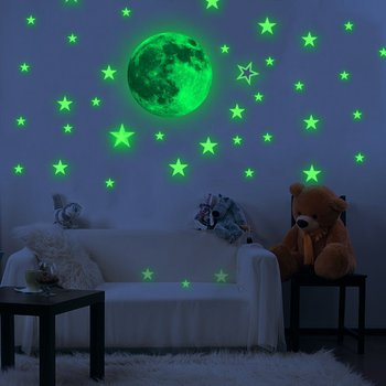 Custom Decorative Wall Sticker Glow Moon Flat Or 3D Glow In The Dark Stars, Glow In The Dark Sticker Wall Sticker