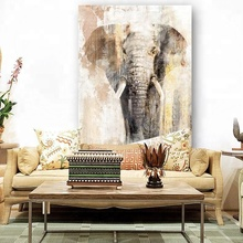 Abstract Elephant Canvas Prints Handmade with Partially Hand Touch Painting Stretched Animal Printing
