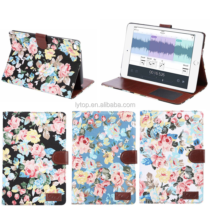 Flower Jeans TPU Cover Leather Case For iPad Mini 4 With Stand