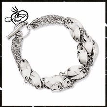 Stainless Steel Polished Swirl 8in Bracelet