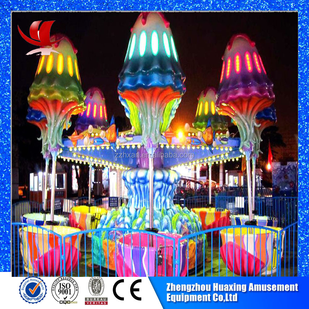 Amusement park attractions happy jellyfish ride for children and adults