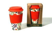 2017 Hot Sale Colorful Bamboo Fiber Coffee Cup With Silicone Lid And Holder
