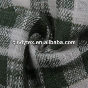 2-tone grass green white soft plaid slubbed cotton fabric