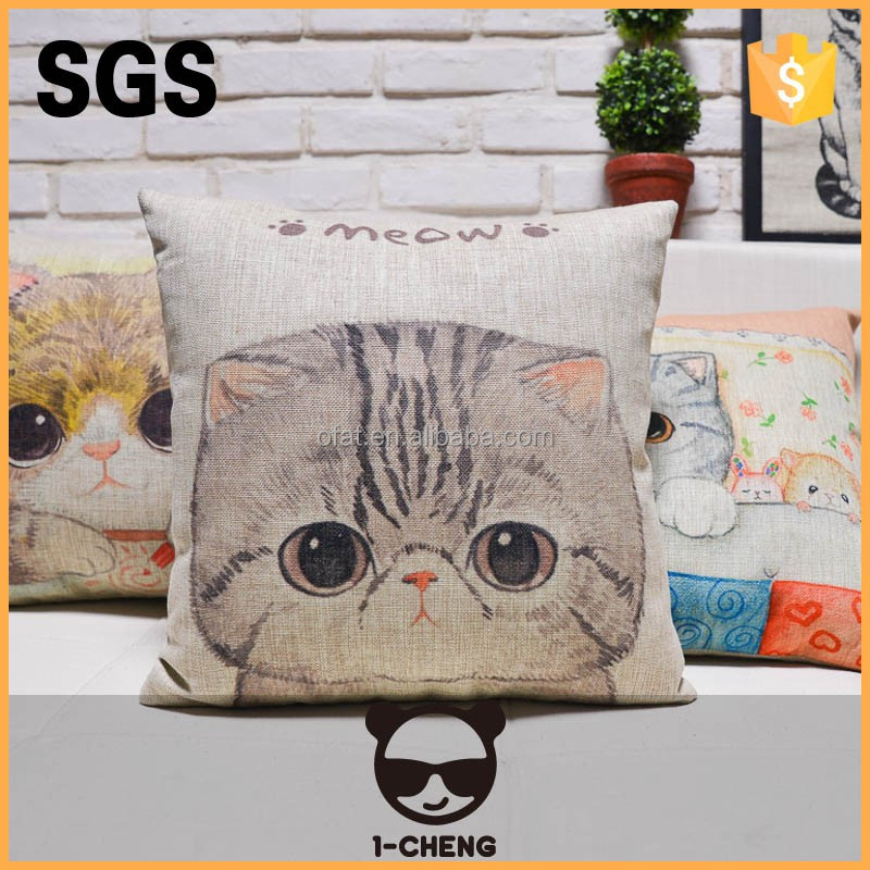 Shanghai 1-CHENG cute cat design home and outdoor linen cushion with waterproof