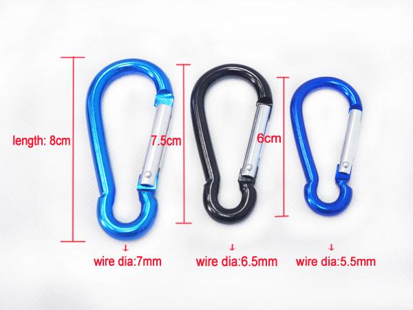 Wholesale Colorful aluminum Heavy Duty Carabiner Clips