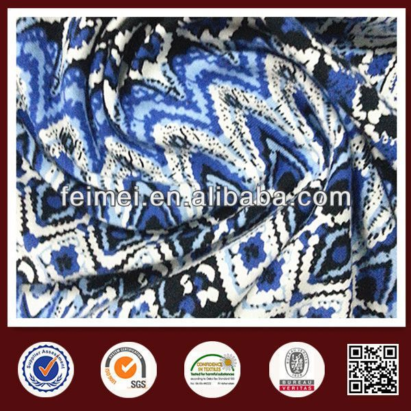 2014 newest printed denim fabric with high gloss with China knit fabric manufacture