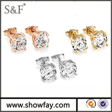 2016 24k gold Four Claws Brass 18KGP Platinum Plated Fashion Earring Diamond Hot Colorful Bead Stud Earring