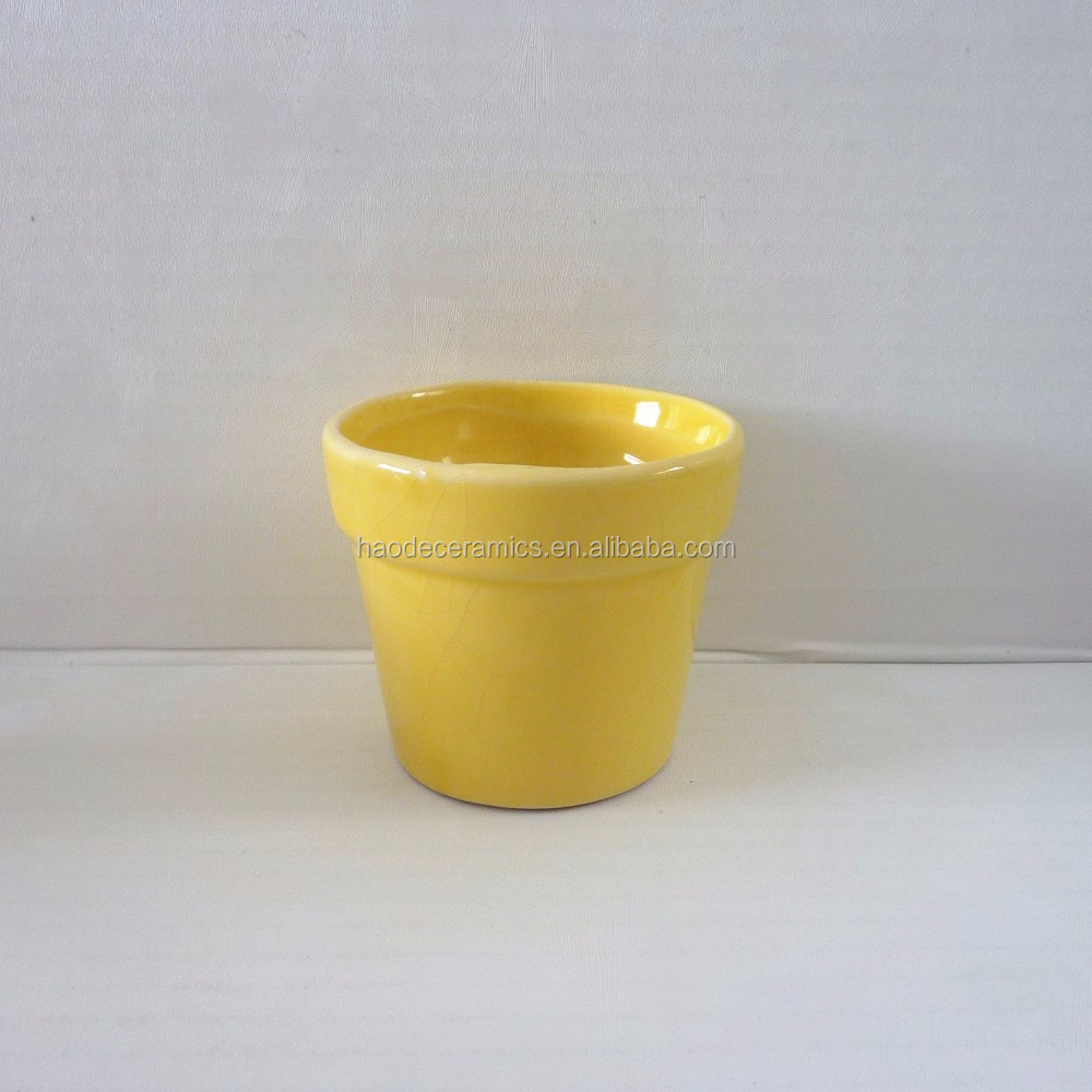 [ ZIBO HAODE CERAMICS]manufacturer supply ECO-friendly YELLOW glazed V-shape mini flower pot for indoor green plant no hole