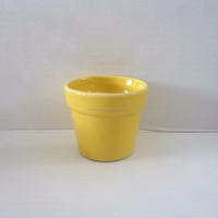 [ ZIBO HAODE CERAMICS]manufacturer supply ECO-friendly YELLOW glazed V-shape mini flower pot for indoor green plant no hole