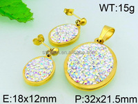 High quality costume jewelry in korea gems solid gold jewelry