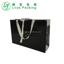 recycled brown cloth paper bag for food powder with ribbon handle