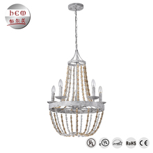 Bulk chandelier crystals iron pendant lamp modern lamp pendant light wooden bead crystal chandelier lighting