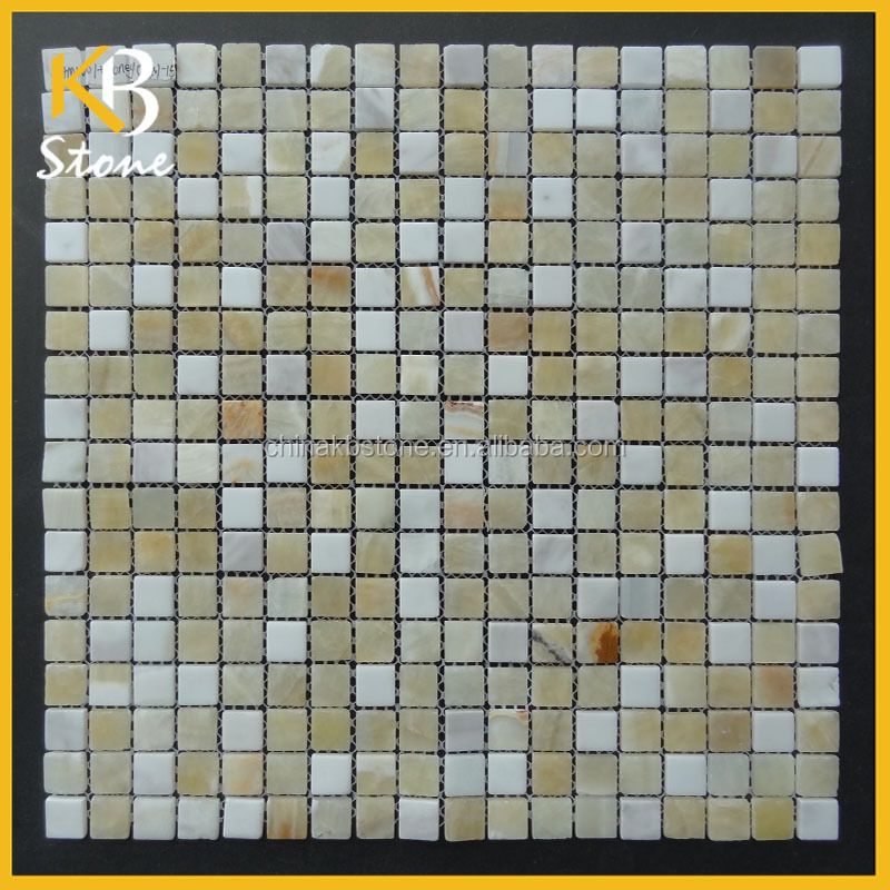 1.5*1.5 China white and grey natural marble mosaic production bathroom decor