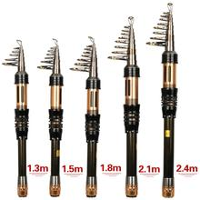Mini Pocket Fishing Rod Telescopic 1.3m-2.4m Spinning Folding Pole for Fishing
