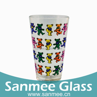Home Use Drinkware Colorful Cartoon Printing Glass Cups