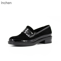 Genuine leather women shoes Kid Suede thick heel comfortable black LOAFERS low heel