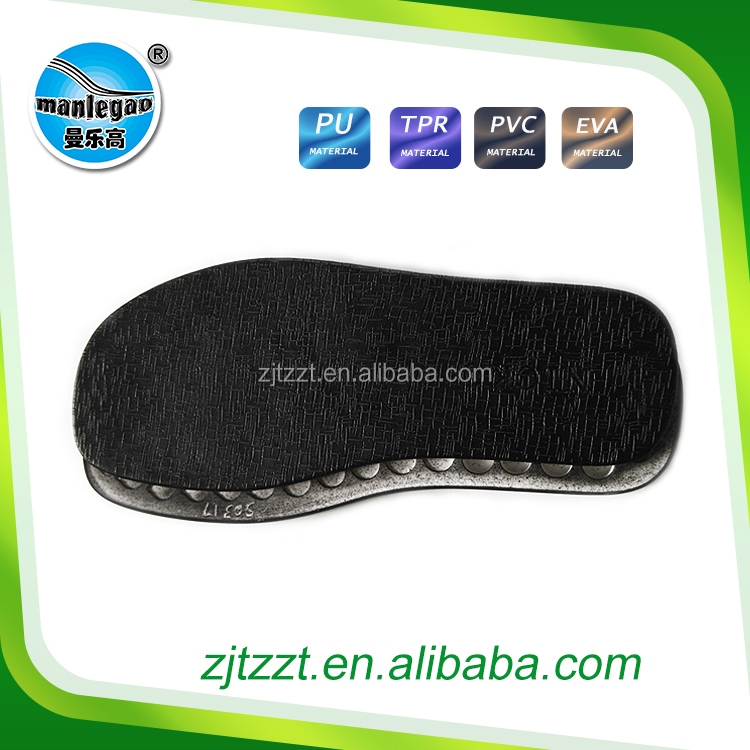 Footwear whole new design PU + RUBBER sole for fashion men boots bottom or leather sandal shoe out soles(black oil resistant )